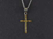 N122   Plain Silver Cross Pendant with Alaskan Gold Nuggets