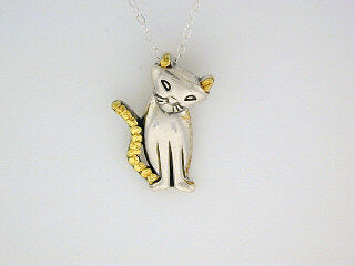 N130  Cat Pendant Silver & Nuggets