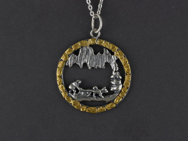N140  Large Silver Aurora Dog Team Musher Pendant Circled with Gold Nuggets