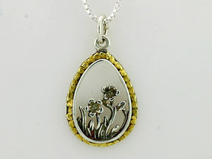 N159  Oval Flower with Pendant Silver