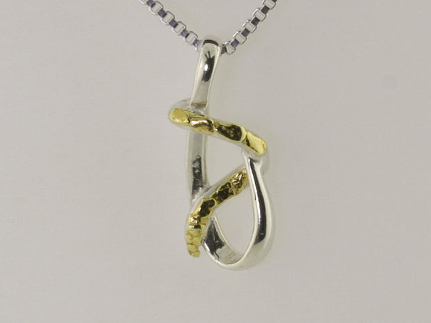 N164  Modern Pendant Silver highlighted by Alaskan Gold Nuggets