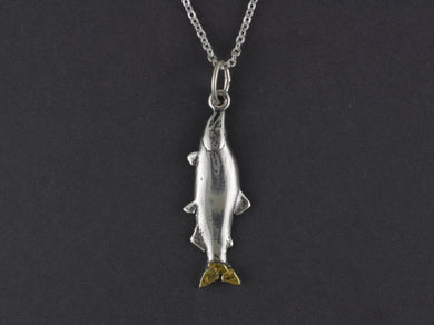 N192Med  Medium Silver Salmon Pendant with Gold Nugget Tail