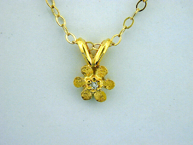 N306  Flower with Tiny 14kt & Nuggets with Diamond Pendant