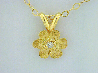 N310  Flower with Large 14kt & Nuggets with Diamond Pendant