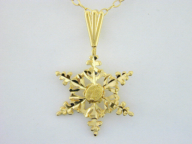 N337  Snowflake with 14kt Necklace