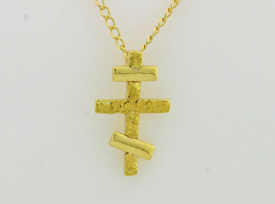 N342  Russian Cross Small 14kt Necklace
