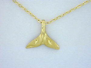 N362  Whale Tail Small 14kt Necklace
