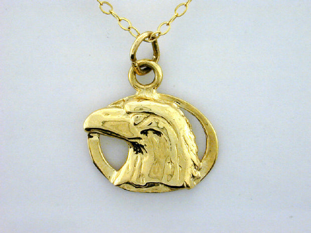 N363  Eagle Head 14kt Necklace
