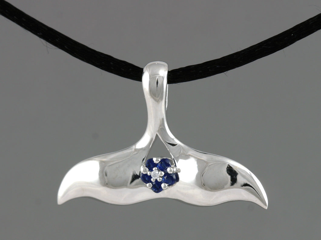 N904SBCZ  Whale Tail with Forget Me Not Silver with/CZ