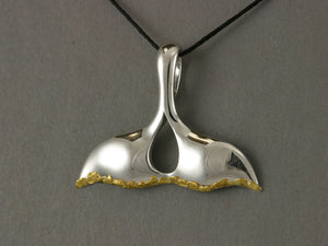 N904SN  Whale Tail Pendant Silver & Nuggets