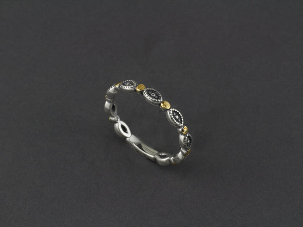 R011-6 Silver Stackable Eye Design Dot Ring