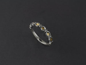 R014   Silver 4dot Eyes Stackable Ring