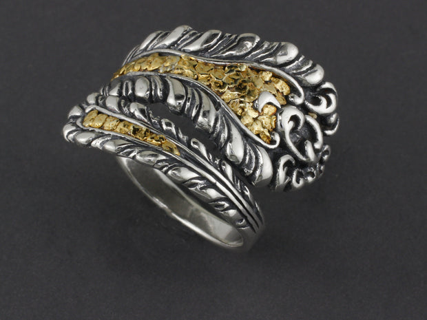R02945  Silver Adjustable Spoon Ring highlighted with Natural Gold Nuggets