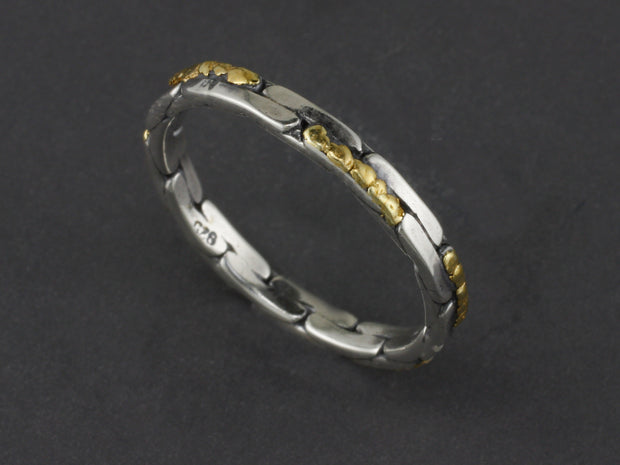 R03244    Brick Silver Stackable Ring with Gold Nuggets