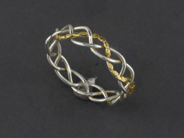R03608   Delicate Silver Braided Wire Ring with Gold Nuggets