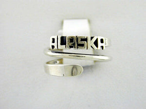 R098  Ring Adj. Silver with Alaska Adjustable