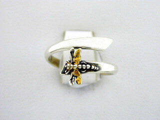 R101  Ring Adj. Silver with Small Dragonfly