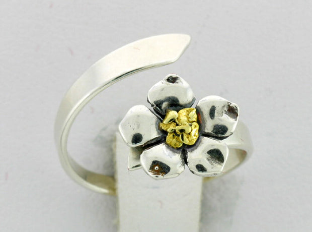 R108  Ring Adj. Silver with Flower Adjustable