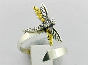 R110  Ring Adj. Silver with Dragonfly Adjustable