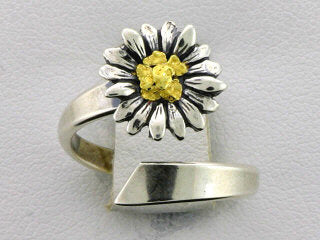 R123  Ring Adj. Daisy Silver Ring Adjustable