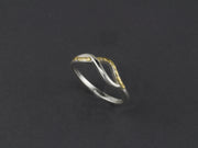 R127-6  Swirl Silver Ring Highlighted by Nuggets