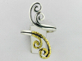 R137  Ring Adj. Db Swirl Nuggets Adjustable