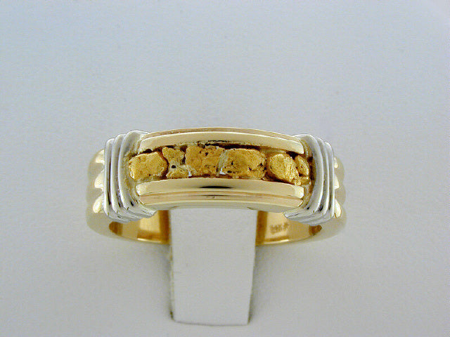R204  Mens Ring 2 tone 14kt & Nuggets