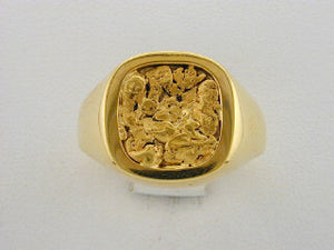 R209  Gents Ring 14kt & Nuggets