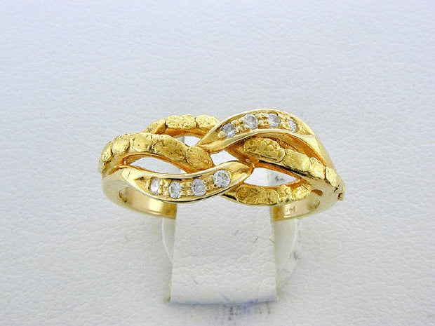 R349  14kt Nuggets & Diamond ring