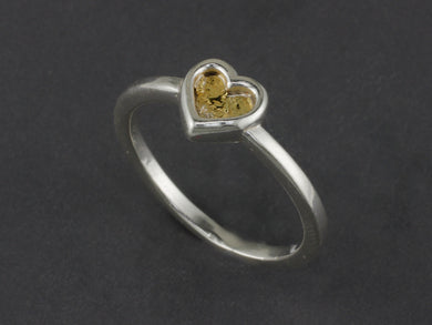 R383S  Silver Heart Channel Ring