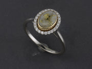 RQ36  Gold-n-Quartz 14kt Ring with Halo of Diamonds