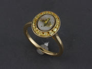 RQ40   Gold-n-Quartz Ladies Ring with Channel of Nuggets Halo