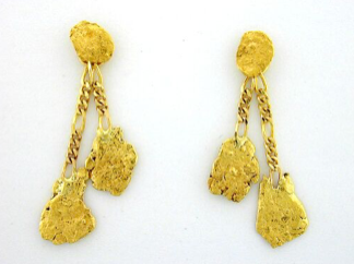 EJ301 Two Nuggets Dangle Earring 0.6-1.9 dwt