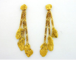 EJ302 .8-2.5 dwt  Three Nuggets Dangle Earring