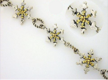BR035  Snowflake Bracelet with Nuggets
