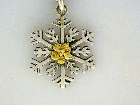 C027  Silver Snowflake with Nuggets