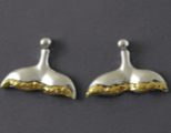EP901SN  Earring Posts Whale Tail Silver & Nuggets