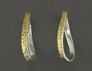 EP455  Swirl Silver Hoops Clip with Alaskan Gold Nuggets