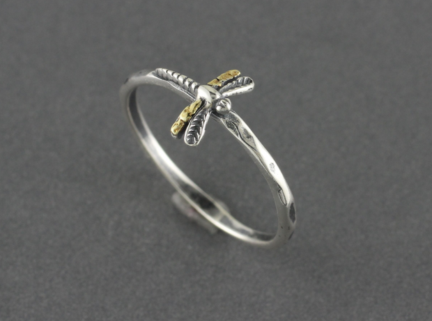 R02021 Silver Dragonfly Ring