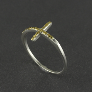 R02712  Silver Cross Ring with Nuggets