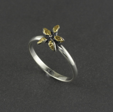 R03065  Flower Silver Ring with Gold Nuggets