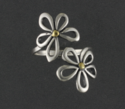R02583  Big 2 Flower Adjustable Silver Ring