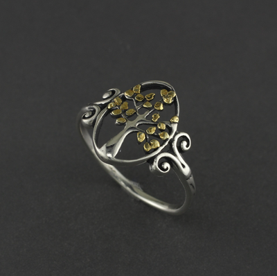 R02724  Tree of Life silver Ring with Nuggets