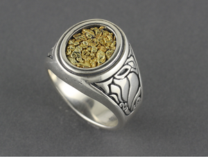 R02730 Mens Ring Oval with Nuggets