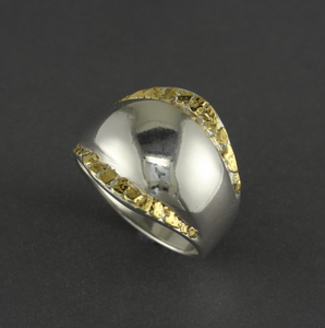 R02582  Silver Wide Ring with Nuggets