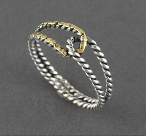 R03451 Rope Silver Ring With Natural Gold Nuggets