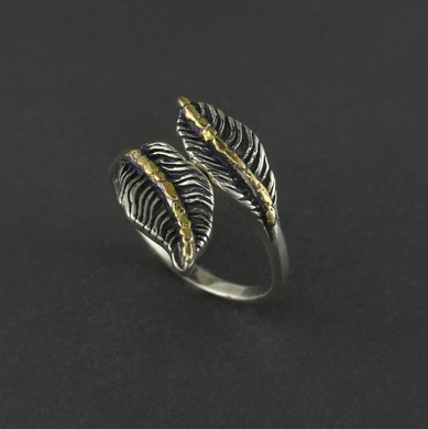 R02908  Two Leaves Silver Ring Adjustable