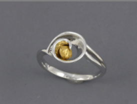 R312S/ 2.0  Silver Fancy Nuggets Ring 2 dwt