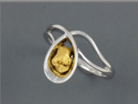R317S/ 2.3  Silver Fancy Nuggets Ring 2.3 dwt
