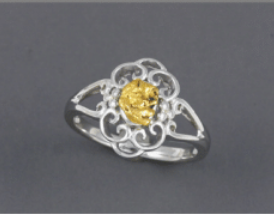 R800S  Silver Ladies Ring Fancy Nuggets